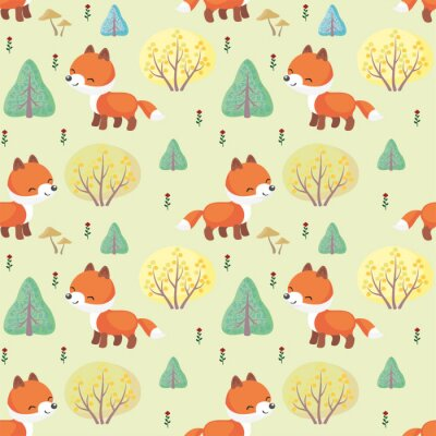 Wall mural Baby colorful seamless pattern with the image of a cute woodland animals. Vector background.