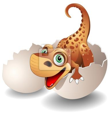 Baby Dinosaur Baby Dinosaur in Egg - On His Egg -Vector