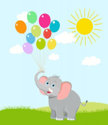 Wall mural baby elephant with balloons, clouds and sun. vector cartoon. hap