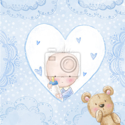 Baby shower greeting card.Baby boy with teddy