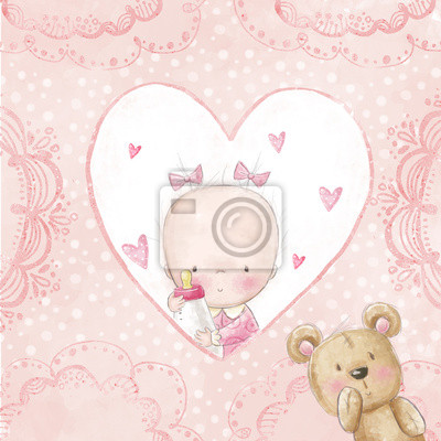 Baby shower greeting card.Baby girl with teddy