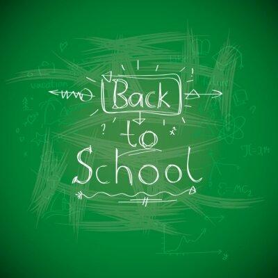 Wall mural Back to school, chalkwriting on blackboard, vector Eps10 image.