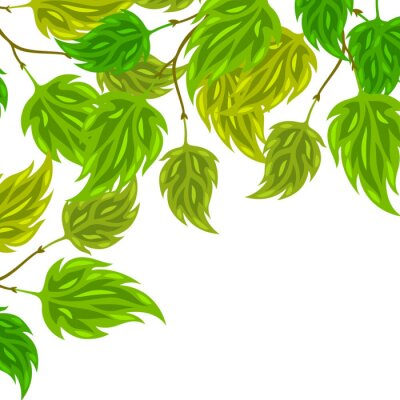 Wall mural Background of stylized green leaves for greeting cards