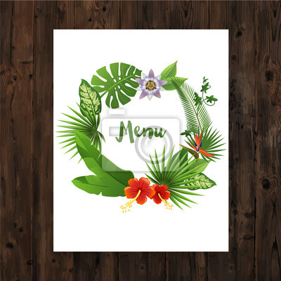 Background with menu text in tropical wreath