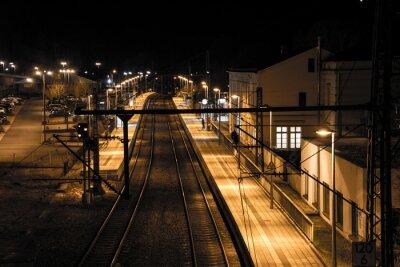 Wall mural Bahnhof bei Nacht
