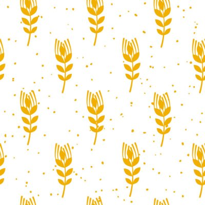 Wall mural Bakery seamless pattern with wheat on white background. Ornament for textile and wrapping. Vector.