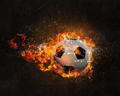 Wall mural Ball burning in fire