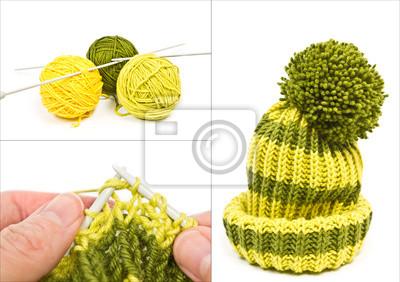 balls of wool yarn, knitting and wool hat