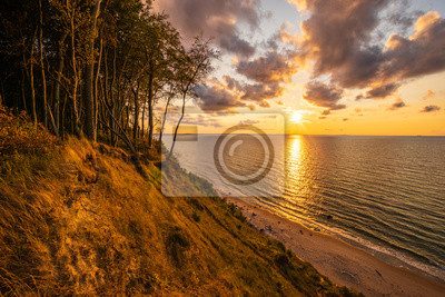 Wall mural Baltic sea, sunset on the cliffs in the Wolinski National Park