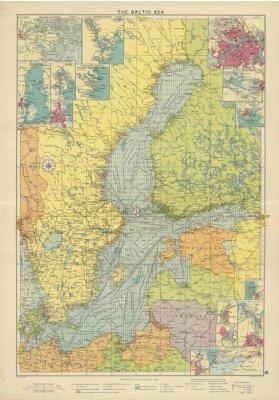 Wall mural Baltic Sea vintage map