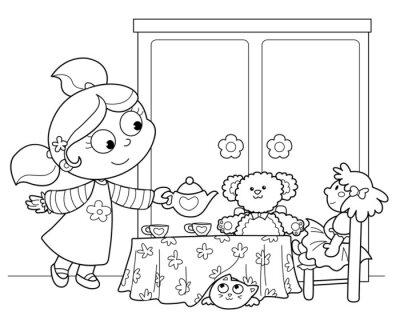 Wall mural Bambina che gioca a servire il te alle bambole