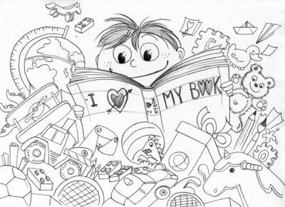 Wall mural Bambino che ama la lettura realizzato a matita
