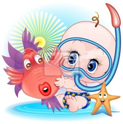 Wall mural Bambino con Pesce Cartoon-Baby Boy with Funny FIsh-Vector
