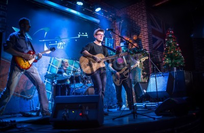 Wall mural Band performs on stage, rock music concert