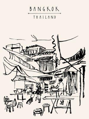 Wall mural Bangkok Thailand hand drawn postcard