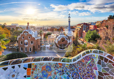 Wall mural Barcelona - Park Guell, Spain