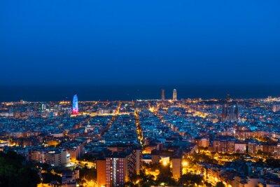 Barcelona skyline,, after sunset, Spain