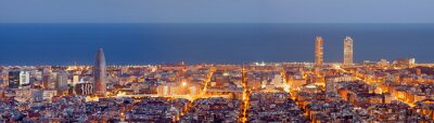 Wall mural Barcelona skyline panorama at the Blue Hour