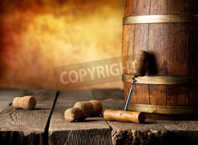 Wall mural Barrel with wine and corkscrew on a wooden table
