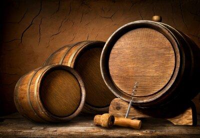Wall mural Barrels and corkscrew