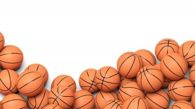 Wall mural Basketball balls isolated on white background