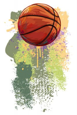 Wall mural Basketball Banner. All elements are in separate layers and grouped.
