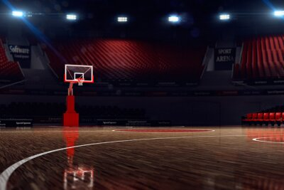 Wall mural Basketball court. Sport arena. 3d render background. unfocus in long shot distance