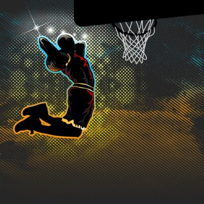 Wall mural Basketball player goes for two handed dunk
