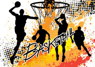 Wall mural basketball player team on white grunge background