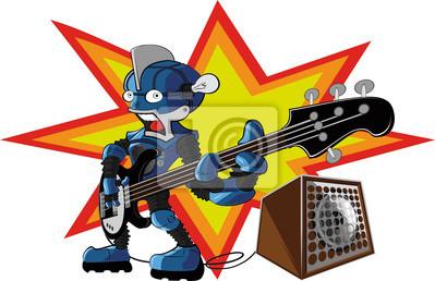 Wall mural bassist robot