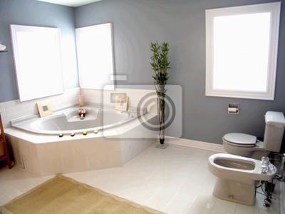 bathroom with windows & white porcelain fixtures