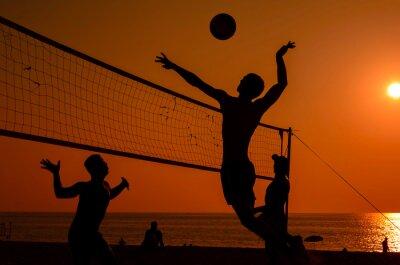 Wall mural Beach volleyball silhouette