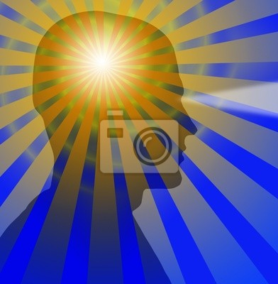 Beams radiate from a sillouette of a head