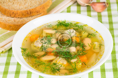 Bean soup with  vegetables and dill