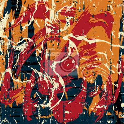 Beautiful abstract orange dark lines graffiti pattern vector illustration