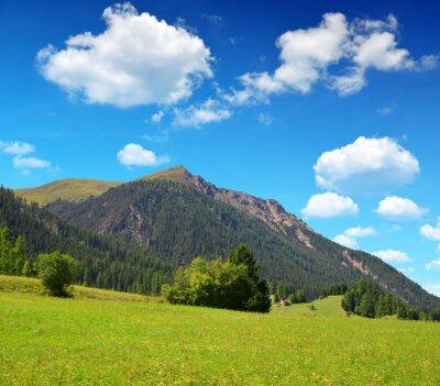 Beautiful Alpine landscape with mountain range. Canton Graubunden in Switzerland.