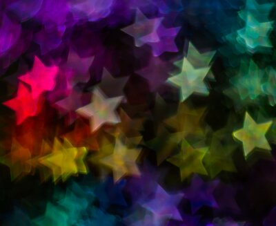 Wall mural Beautiful background with different colored  star, abstract background, star shapes on black background