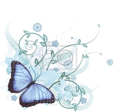 Beautiful blue butterfly background