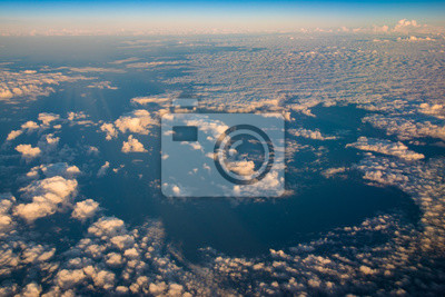 beautiful cloud formations after sunrise over the ocean, panorama