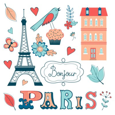 Wall mural Beautiful collection of paris related graphic elements