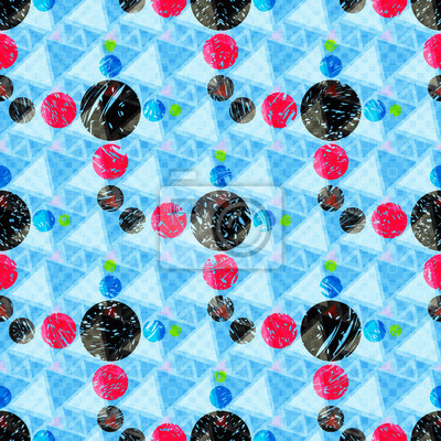 Wall mural beautiful colored circles on a blue background geometric seamless pattern