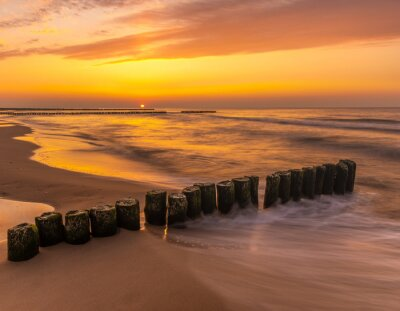 Wall mural Beautiful, colorful sunset over Baltic sea