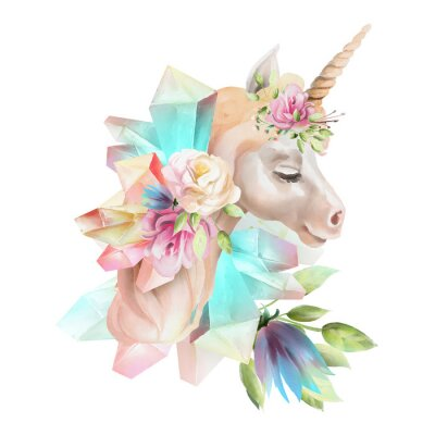 Wall mural Beautiful, cute, watercolor unicorn head with flowers, floral crown, bouquet and magic crystals isolated on white