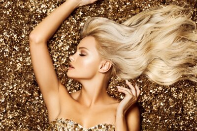 Wall mural Beautiful hair Girl. Healthy Long Hair. Blonde woman in golden flowers garden, princes