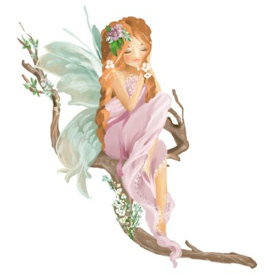 Wall mural Beautiful hand painted oil fairy sitting on old wood branch with floral bouquet, flowers wreath isolated on white