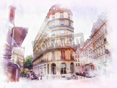 Wall mural beautiful image of Paris on watercolor background