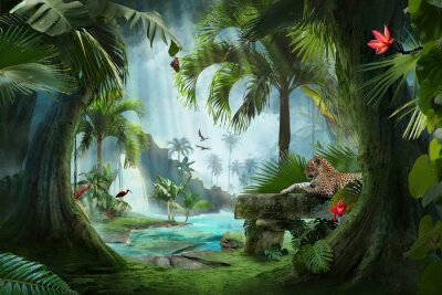Wall mural beautiful jungle beach lagoon view with a jaguar, palm trees and tropical leaves, can be used as background