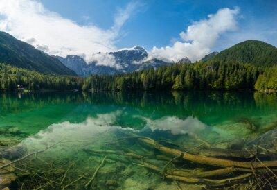 beautiful morning at Lake Laghi di Fusine in the Julian Alps in Italy