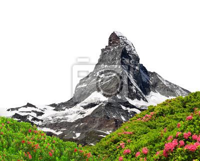 Beautiful mount Matterhorn on white background