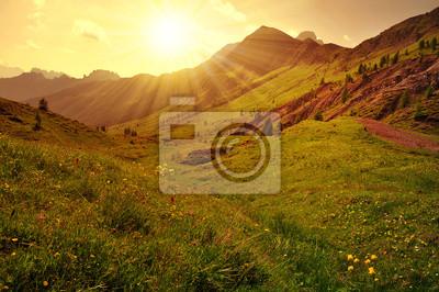 Beautiful mountain landscape at sunset, Dolomites - Italy